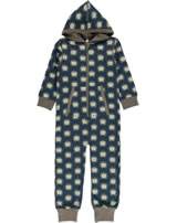 Maxomorra Onepiece with hood HEDGEHOG blue/brown P8WI-S415-D3156 GOTS