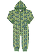 Maxomorra Onepiece with hood TRACTOR green GOTS M549-C3376