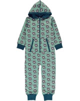 Maxomorra Onepiece with hood RACOON green/blue P8WI-S415-D3152 GOTS