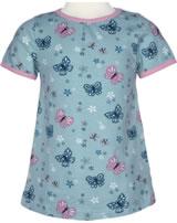 Maxomorra T-Shirt Kurzarm A-Linie SCHMETTERLING pale blue M352-D3225 GOTS