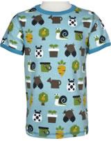 Maxomorra T-Shirt Kurzarm GARTEN pale blue M336-D3214 GOTS