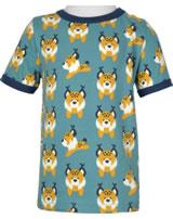 Maxomorra T-Shirt Kurzarm LUCHS blau M468-D3274 GOTS