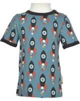Maxomorra T-Shirt Kurzarm MOON ROCKET blau/grau M468-D3277 GOTS