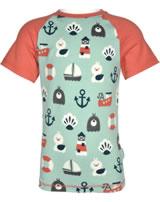 Maxomorra T-Shirt Kurzarm Slim BLUE OCEAN blau/rot M338-D3234 GOTS