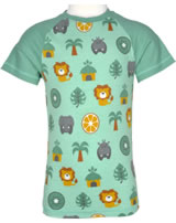 Maxomorra T-shirt manches courtes Slim JUNGLE vert/jaune M338-D3231 GOTS