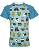 Maxomorra T-Shirt Kurzarm Slim GARTEN pale blue M338-D3214 GOTS