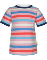 Maxomorra T-Shirt Kurzarm Streifen Blossom rosa/blau GOTS M522-C3351