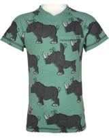 Maxomorra T-Shirt Kurzarm V-Ausschnitt RHINO grün/grau M422-D3246 GOTS