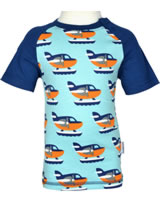 Maxomorra T-Shirt Kurzarm WASSERFLUGZEUG blau/orange P8SP-S338-D3089