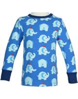 Maxomorra T-Shirt Langarm ELEPHANT FRIENDS blau GOTS M467-C3339