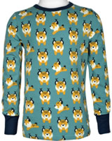 Maxomorra T-Shirt Langarm LUCHS blau M467-D3274 GOTS