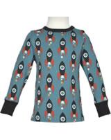 Maxomorra T-Shirt Langarm MOON ROCKET blau/grau M467-D3277 GOTS