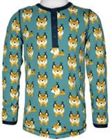 Maxomorra T-Shirt Langarm Slim LUCHS blau M432-D3274 GOTS