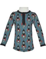 Maxomorra T-Shirt Langarm Slim Button MOON ROCKET blau/grau M432-D3277 GOTS