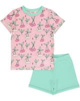 Meyadey Pyjama short sleeve CHERRY KISS pink GOTS D3390-M439