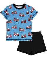 Meyadey Pyjama Schlafanzug Kurzarm FIRE TRUCKS blau GOTS D3394-M439