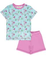 Meyadey Pyjama Schlafanzug Kurzarm STRAWBERRY FIELDS blau GOTS D3400-M439