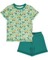 Meyadey Pyjama Schlafanzug Kurzarm WILD FOX grün GOTS D3401-M439