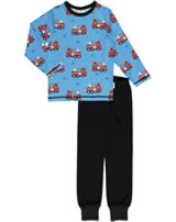 Meyadey Pyjama Schlafanzug Langarm FIRE TRUCKS blau GOTS D3394-M437