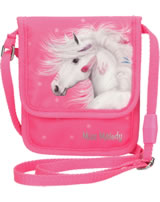 Miss Melody neck pouch pink with glitter