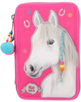 Miss Melody pencil case with three parts and filling pink