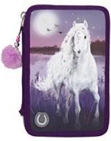 Miss Melody Federtasche mit drei Fächern gefüllt Mondschein mit LED lila