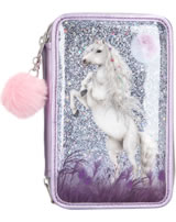 Miss Melody pencil case with three parts and filling deam horse