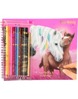 Miss Melody colouring book with colored pencils