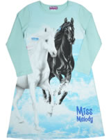 Miss Melody Nightgown long sleeve white & black Horses plume 98892-609