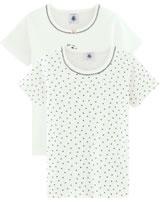 Petit Bateau Mädchen Kurzarm-Shirt 2er Set Herzen blau/weiß 51185-00