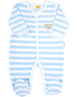 Steiff Romper suit velours BASIC baby blue 0002848-3023