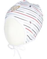 Steiff Baby-Mütze m.Bindeband BEAR CREW Streifen bright white 2012118-1000
