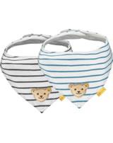 Steiff Dreieckstuch 2er Pack BEAR BLUES Streifen bright white 2011226-1000