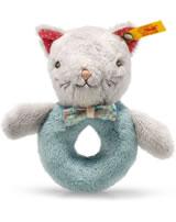 Steiff grip toy cat Blossom 12 cm grey/petroleum blue 241116
