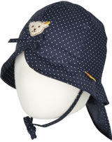 Steiff Hat with neck guard DOTS AND STRIPES marine 6832810-3032