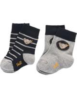 Steiff Socks Set of 2 with Teddy-head, stripes black iris 1921915-3032