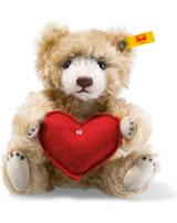 Steiff Teddybär mit Herz 18 cm Mohair zimt 040122