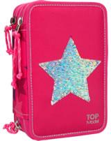 TOPModel Federtasche mit drei Fächern gefüllt Pailletten Star pink
