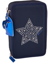 TOPModel pencil case with three parts and filling Stars and Stars blue