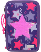 TOPModel pencil case with three parts and filling Sequins Star pink