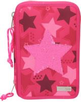 TOPModel Federtasche mit drei Fächern Streichpailletten Stern pink