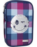 TOPModel pencil case with filling Sequins Smiley blue