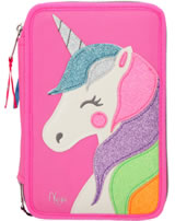 Ylvi and the Minimoomis pencil case with three parts and filling Glitter pink