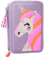 Ylvi and the Minimoomis pencil case with three parts and filling Sequins purple